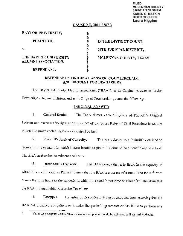 BAA vs. Baylor counterclaim (filed Aug. 6, 2014)