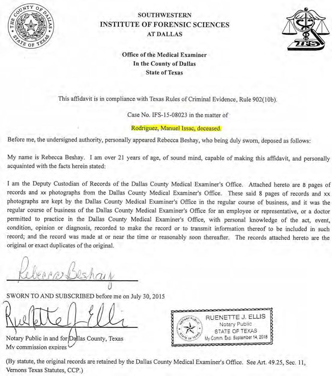 Manuel Issac Rodriguez: Autopsy report