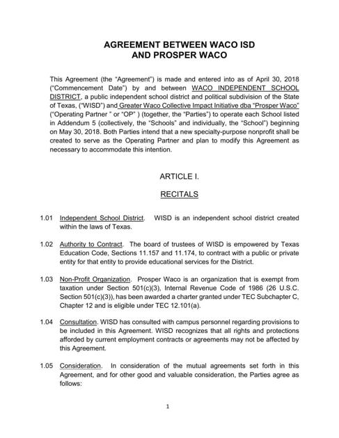 Waco Isd Prosper Waco Performance Contract Wacotrib