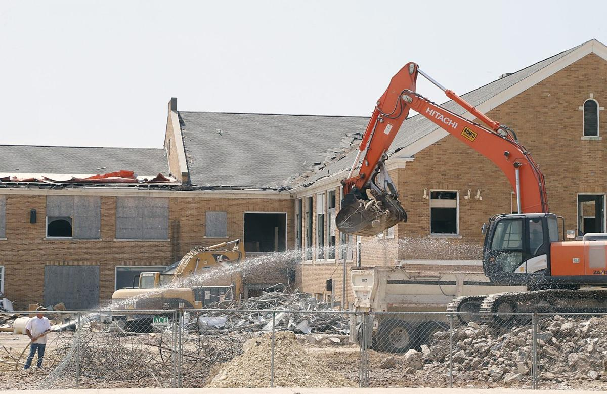 Wrecking Ball Building : Former brazos middle school building falls to wrecking