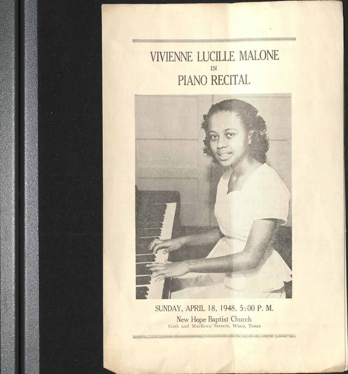 Vivienne Malone-Mayes piano recital program