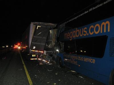 13 hospitalized after crash between 2 buses, 18-wheeler | Roads