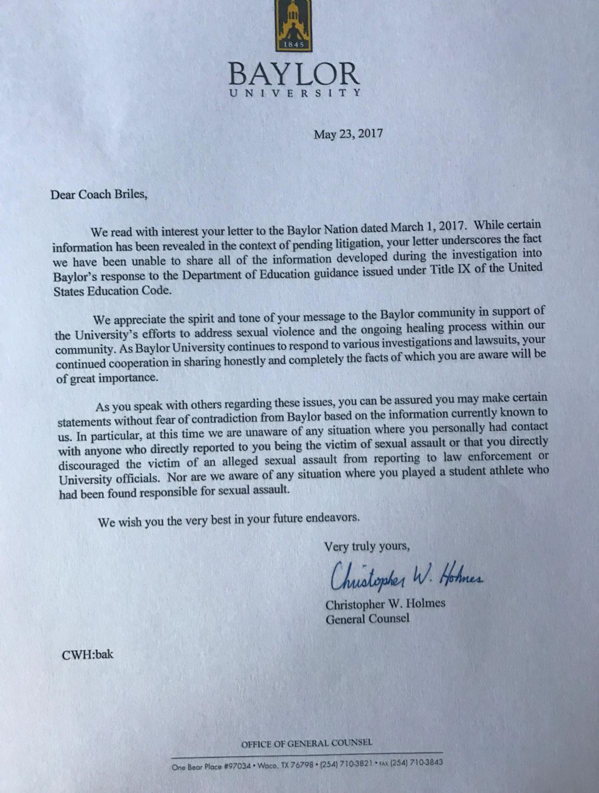 Baylor letter to Briles