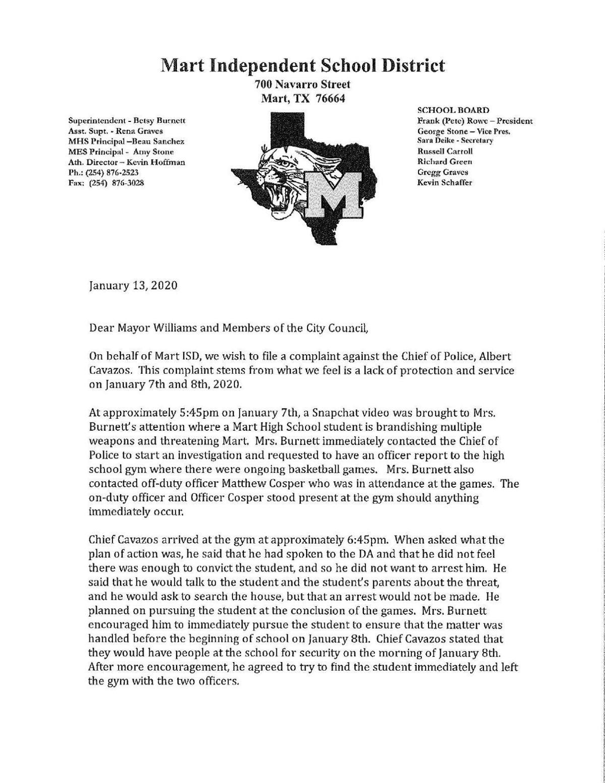 Mart ISD letter