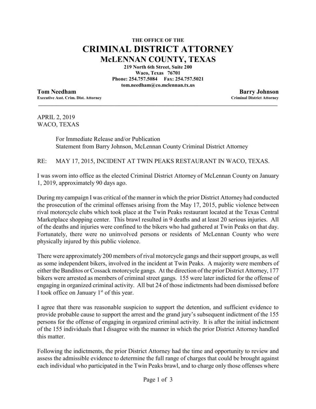 McLennan County DA statement on Twin Peaks cases