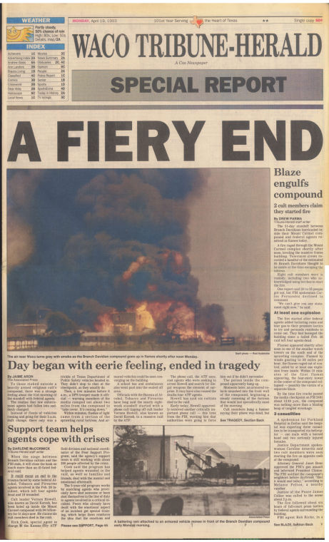 5a76728ad0b The fire (April 19, 1993 special - Page 1A)   Branch Davidians: 25 ...