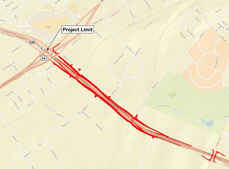 Loop 340 frontage roads