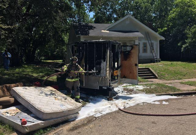 Man burned while fueling equipment with gasoline