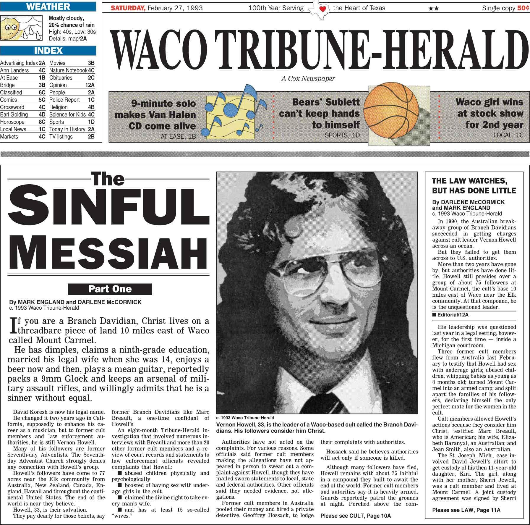 Waco Tribune-Herald of Feb. 27, 1993: The Sinful Messiah, Part 1