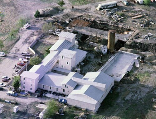 Aerial view of the Branch Davidian compound before the raid in 1993.