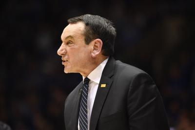 Head coach Mike Krzyzewski of the Duke Blue Devils reacts during the second half against the North Carolina Tar Heels at Cameron Indoor Stadium on March 7, 2020 in Durham, North Carolina.