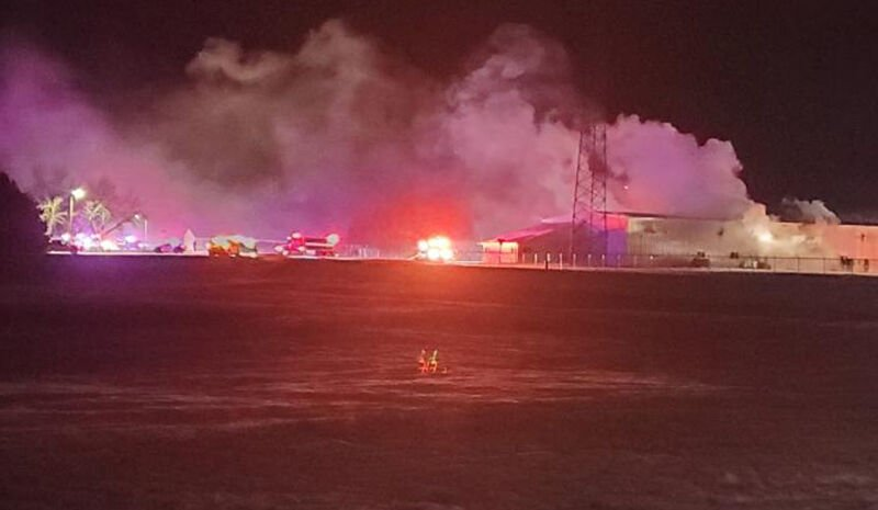 Area fire departments responding to fire at county highway shop in Hankinson