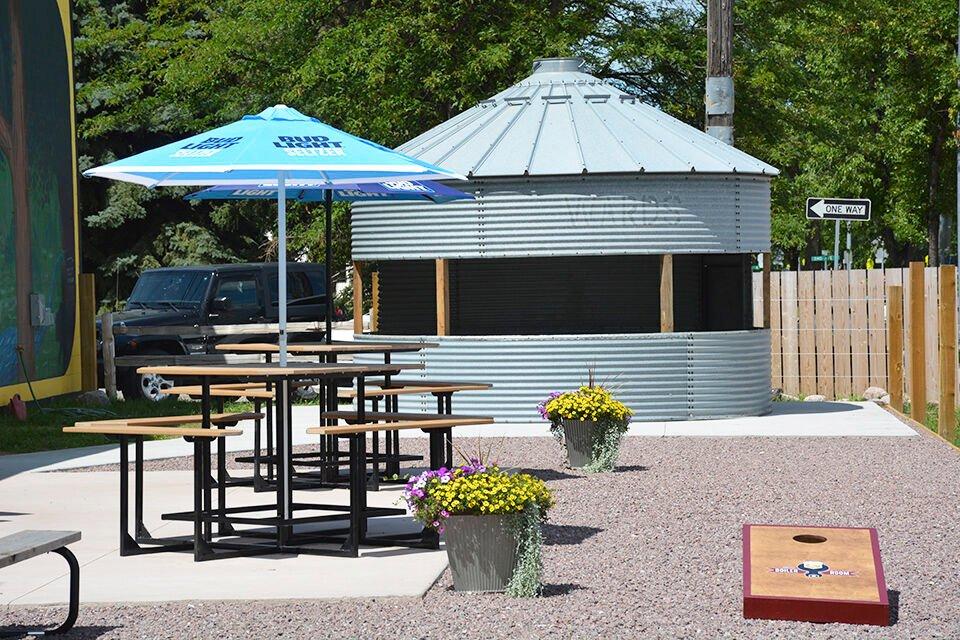 Once a grain bin, now a patio bar
