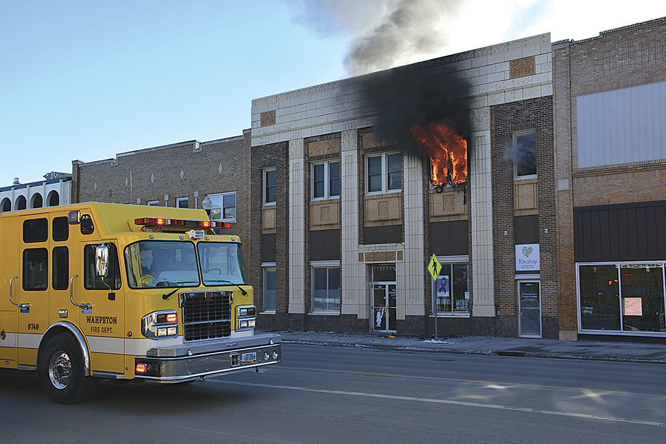 Fire at Citizens National Bank building in Wahpeton