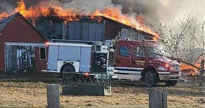 Farm buildings destroyed in Monday fire