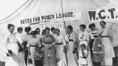 Dressed in white suffragists campaigned for the vote