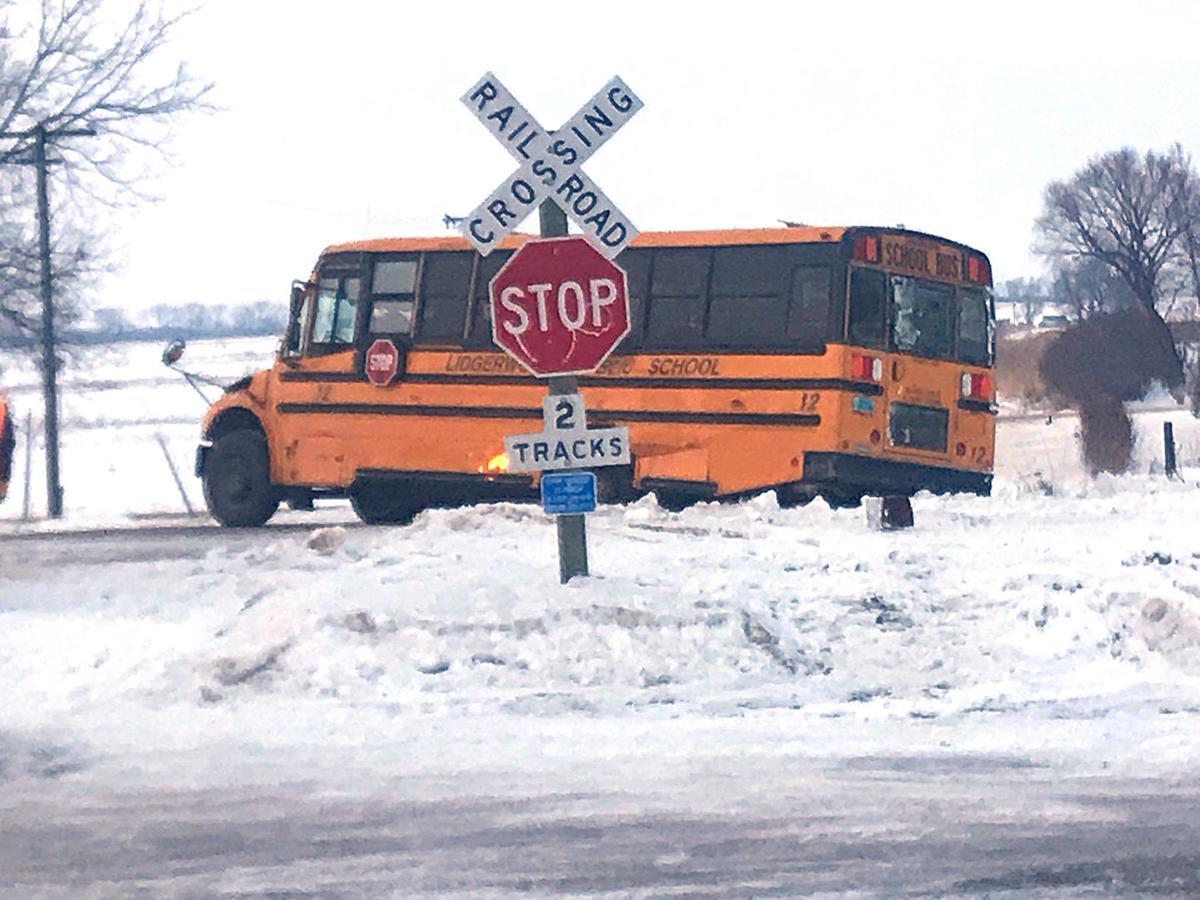 Slow-moving train strikes school bus Thursday at Lidgerwood