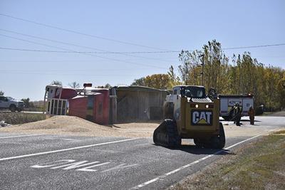 Semi-truck overturns in Hankinson