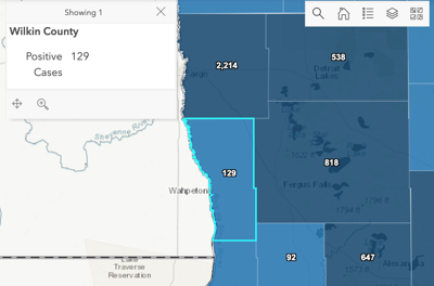 Wilkin County at 129 COVID-19 cases, state at 128,152 cases