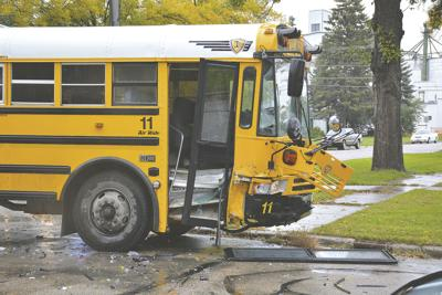 School bus, car involved in accident
