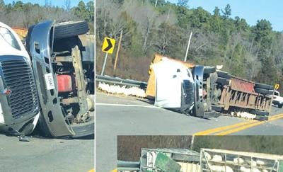 US Hwy 71 traffic paralyzed  due to overturned semi