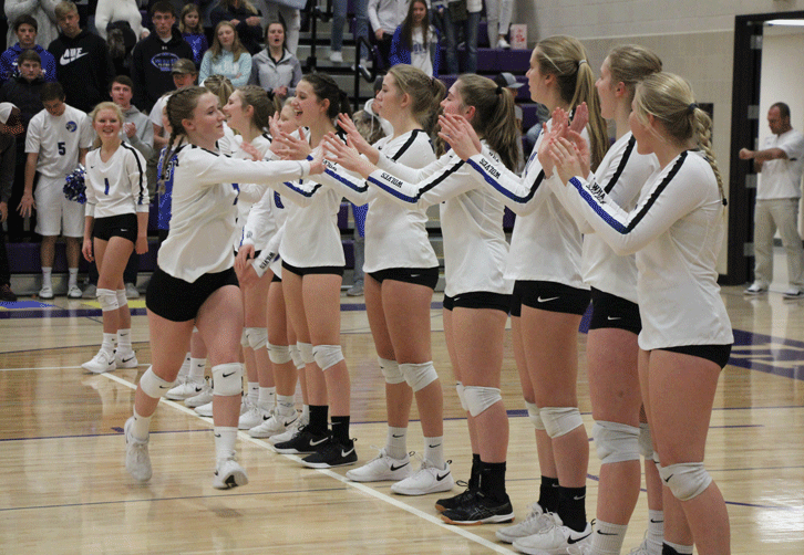 Rachel Pitt and the rest of the Wolves are introduced prior to the start of the Section 5A Championship.