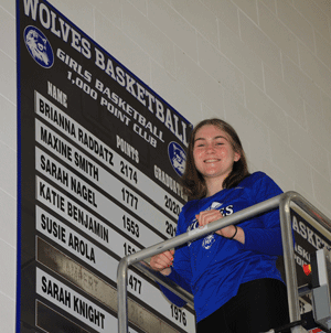 Bri Raddatz is the top scorer in WHAbasketball history and only player to reach 2,000 points.