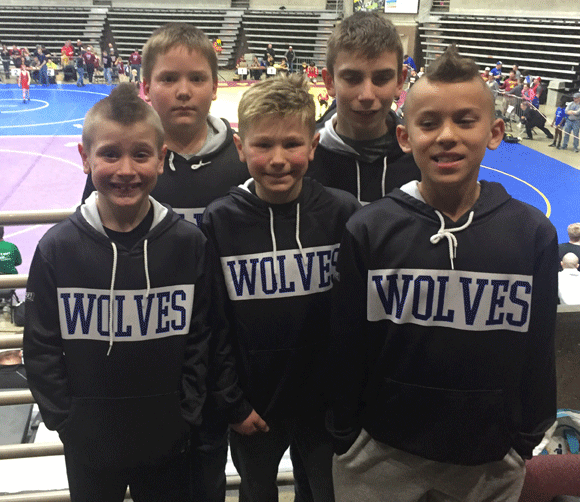 The five Wrestling Wolves who competed at state tournaments were (front row from left) Chase Whitney, Peyton Richter, Carson Jacob, (back) Dylan Hedren and Callen Whitney.