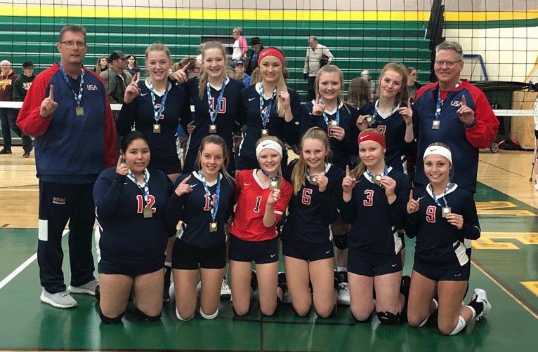 The 16U team that took first place include (front row from left) Mackenzie Moore, Anna Likens, Lizzie Naugle, Abi Strandlie, Ally Sea, Aly Wicks, (back) Coach Scott Wicks, Katie Sagen, Kali Oelschlager, Aleah Tabbert, Danielle Goehring, Alayna Pinski and Pete Naugle.