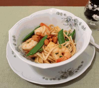 Teriyaki shrimp and noodle stir fry with mini Baileys minty brownie truffle