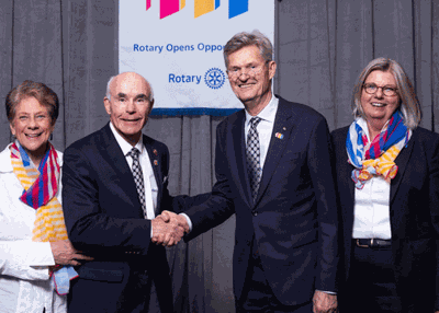 Bob McLean (middle left) recently assumed his duties of Rotary International District Governor of District 5580 for 2020-2021.