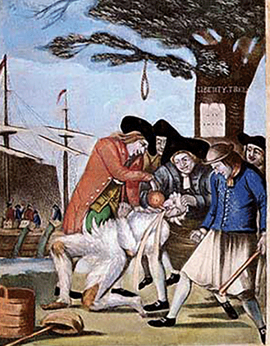 Tarring and feathering was a form of public humiliation that dates back to the American Revolution.
