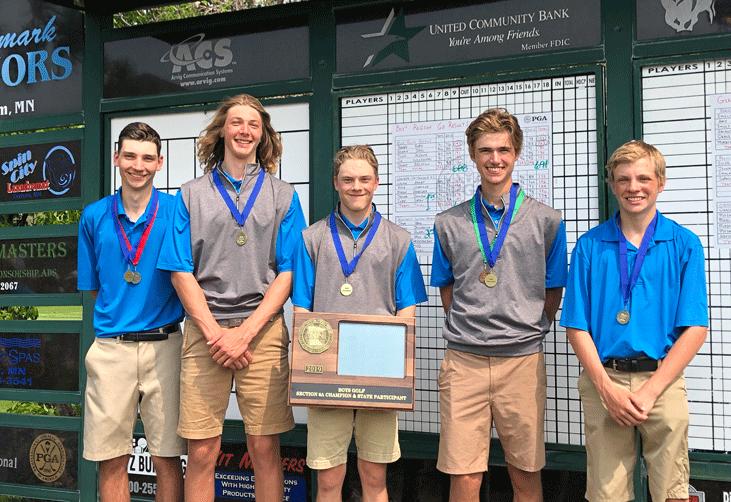 The WHA Boys' Golf Team with the Section 6A Trophy are Rece Wiedmann (from left), Cody Sagen, Logan Arndt, Mason Schneider and Trevor Johnson.