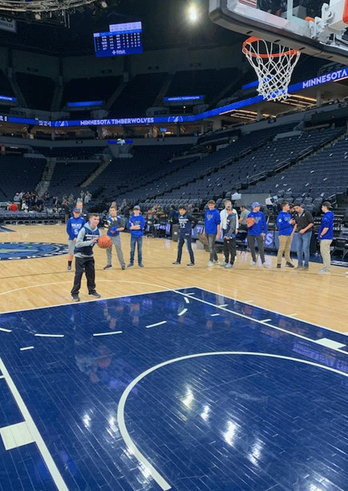 Christian Moe and the rest of the WHA players each got to shoot a free throw.