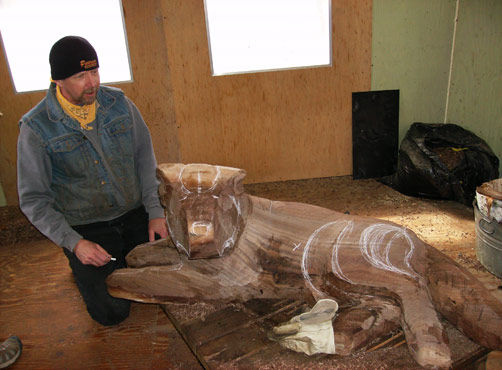 Sculptor Paul Albright of Akeley sculpted a statue of Bruno from a black walnut log. The sculpture will be placed in a garden area in downtown Longville.