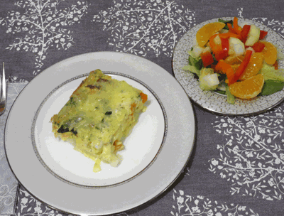 Smoked salmon breakfast casserole and jicama salad with honey clementine vinaigrette