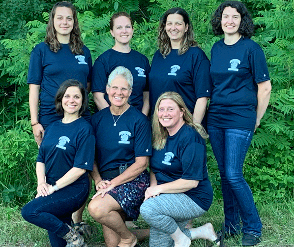 Women members of Hackensack Fire and Rescue are (kneeling from left) Lee-Ann Marchwick, Dawn Peterson and Amy Remer and (standing from left) Carlie Bray, Amanda Harding, Nicky Huewe and Angela Johnson. Not pictured are Sara Roden and Donnea Peterson.