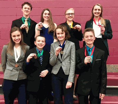 The Walker-Hackensack-Akeley Speech students placing in the top six at the Section 8A Meet were (front row from left) Jayda Dickson, Geo Morris, Willow Damar, Dylan Johnson, (back) Logan Wales, Katelyn DeLost, Lily Pedersen and Molly Massar.