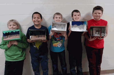 Pictured with their science projects are (from left) Sawyer Bowles, Adam Sullivan, Damon Forseman, Jordan Dagestad and Justin Honer.