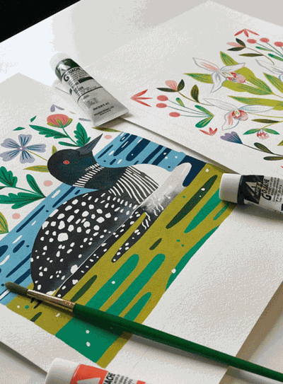 This year's exclusive 2020 Quilt Minnesota fabric line was designed by artist Aimee Bouchard of Walker. Aimee incorporates many types of Minnesota flora and fauna into her designs, such as a loons and chicks, animals, several species of fish and the showy lady's slipper.