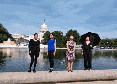 Four of the six students near the United States Capitol.