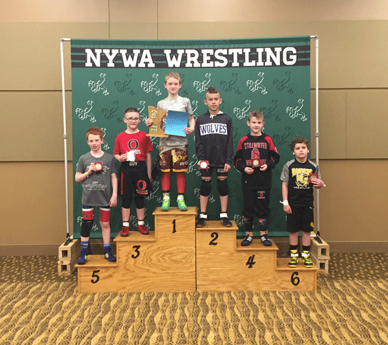 Carson Jacobs (third from right) took second place recently at the state Northwoods Youth Wrestling Association Tournament.