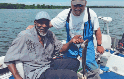 Carl Eller and his family stayed at Shores of Leech Lake and fished with local guide Jeff Woodford the morning of the Fourth.