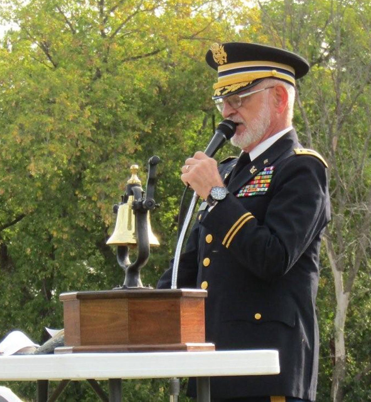 Army veteran Jim Smith shared some words from the American Legion National Commander.