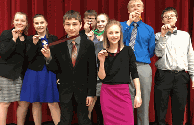 Autumn Howg (from left) took fourth in Storytelling, Hannah Kahlstorf first in Great Speeches, Wyatt Lahr sixth in Storytelling, Zachary Stute second in Discussion, Caitlyn Stute fifth in Storytelling, Anna Katzenmeyer sixth in Humor, Alex Forseman fourth in Prose and Joe Pierce sixth in Prose. The top four speakers in each category advance to the Section 8A Meet.