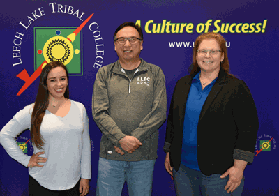 Pictured are (from left) Dean of Student Services Michelle Saboo, LLTC President Raymond Burns and Natural Sciences and Technology Department Chair and Earth System Science Instructor Melinda Neville.