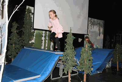 One by one, several Walker-Hackensack-Akeley Elementary School students climbed or sprinted up the mats to simulate they were climbing a mountain during the March 13 Rotary Reading challenge wrap-up celebration.
