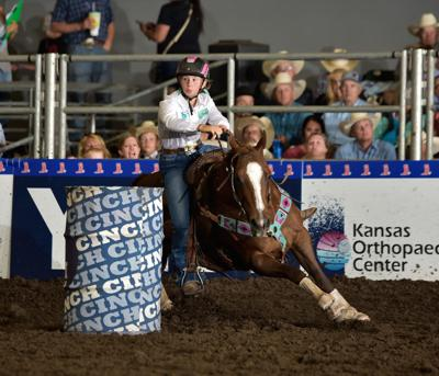 Twelve-year-old Madi Moe competing at the National Little Britches Rodeo, where she placed sixth in standings and fifth in average in the finals. Photo submitted