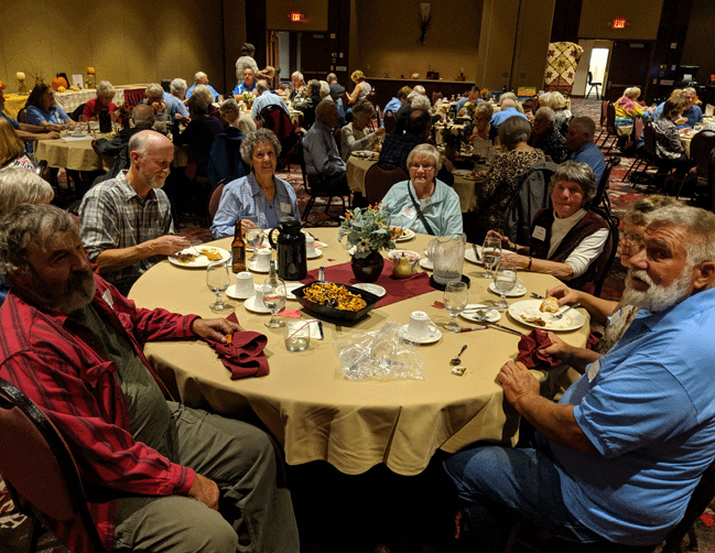 Faith in Action volunteers enjoy an appreciation dinner at the Northern Lights. At the front table are (from left) Don Bruemmer and Mary Bruemmer (partially hidden) of Backus, Jim Allen and Caryl Allen of Pine River, Mary Jane Rippel of Backus, Carol Bennett of Backus, and Mary Krecklau (partially hidden) and Randy Krecklau of Pine River.
