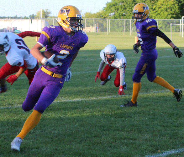 Devon Lafriniere gives Laporte good field position on this first-half kick-off return.